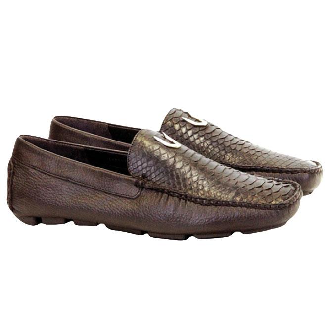Vestigium Python Driving Loafers Brown Image