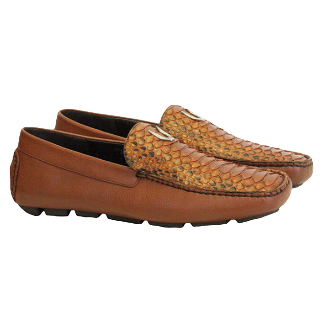 Vestigium Python Driving Loafers Cognac Image