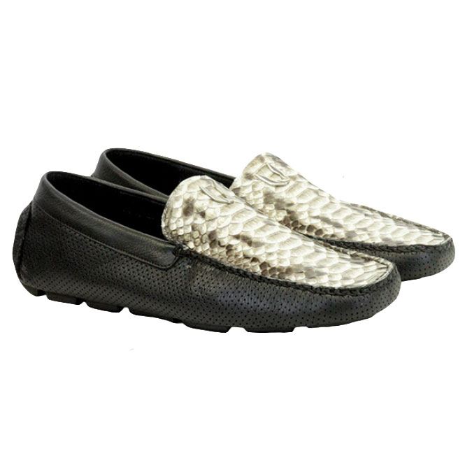 Vestigium Python Driving Loafers Natural Black Image