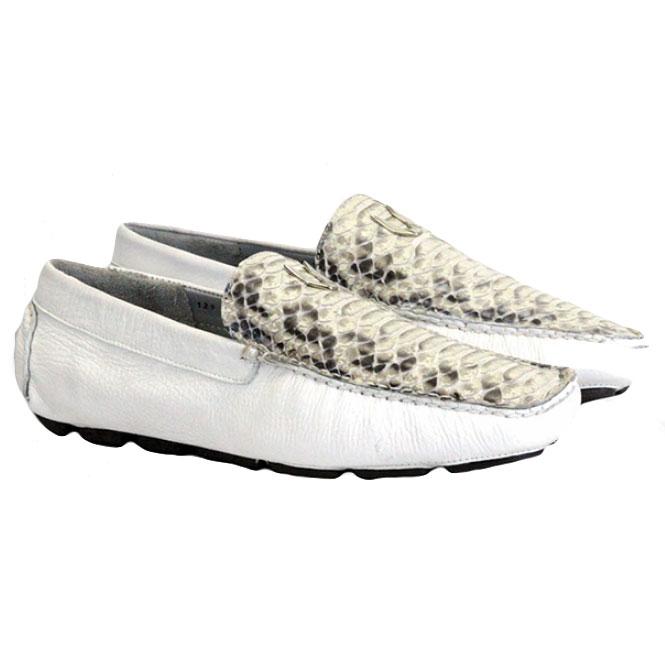 Vestigium Python Driving Loafers Natural White Image
