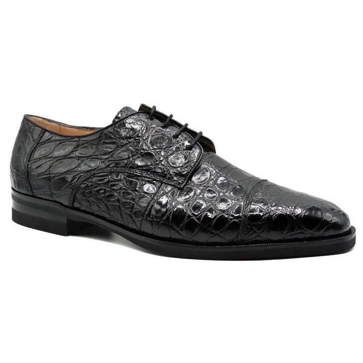 Zelli Andrea Crocodile Cap Toe Shoes Black Image