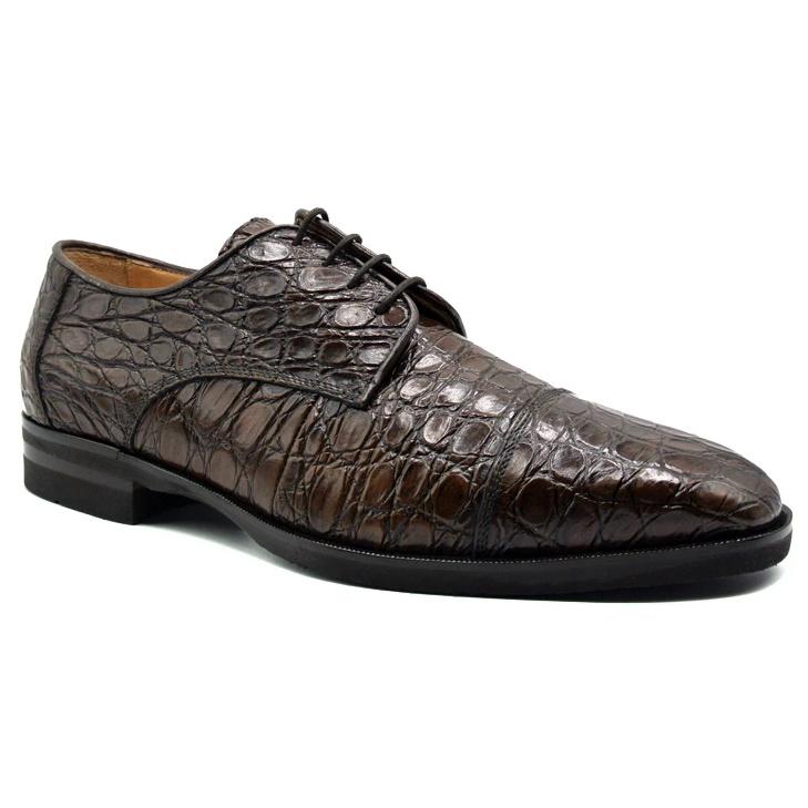 Zelli Andrea Crocodile Cap Toe Shoes Cognac Image