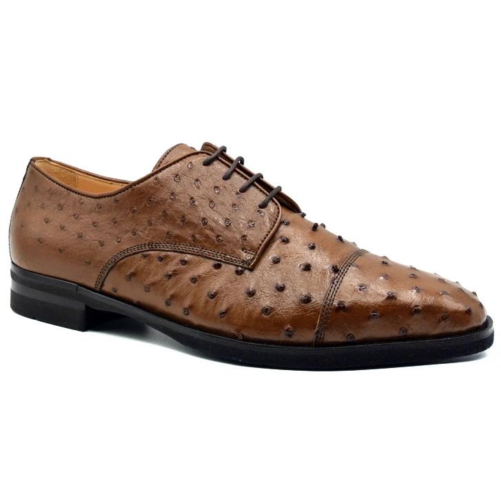 Zelli Andrea Ostrich Cap Toe Shoes Brandy Image