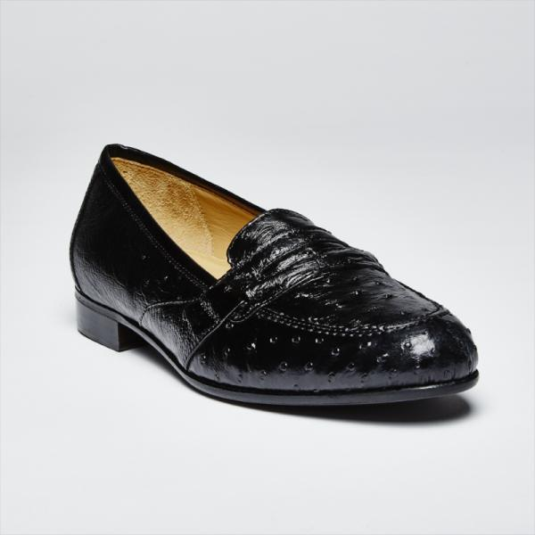 Zelli Angelo Genuine Ostrich Loafers Black Image