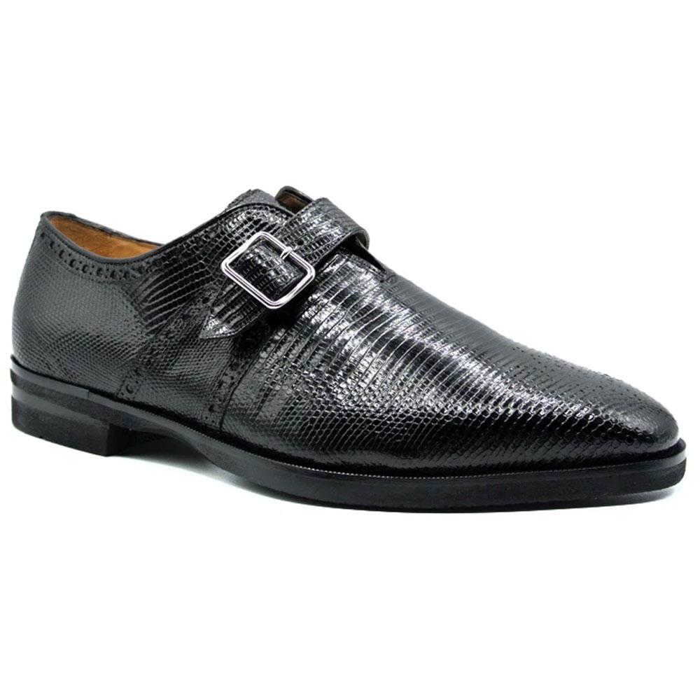 Zelli Antonio Lizard Monk Strap Shoes Black Image