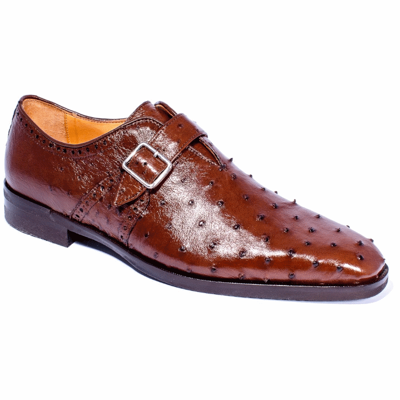 Zelli Antonio Ostrich Monk Strap Shoes Brown Image