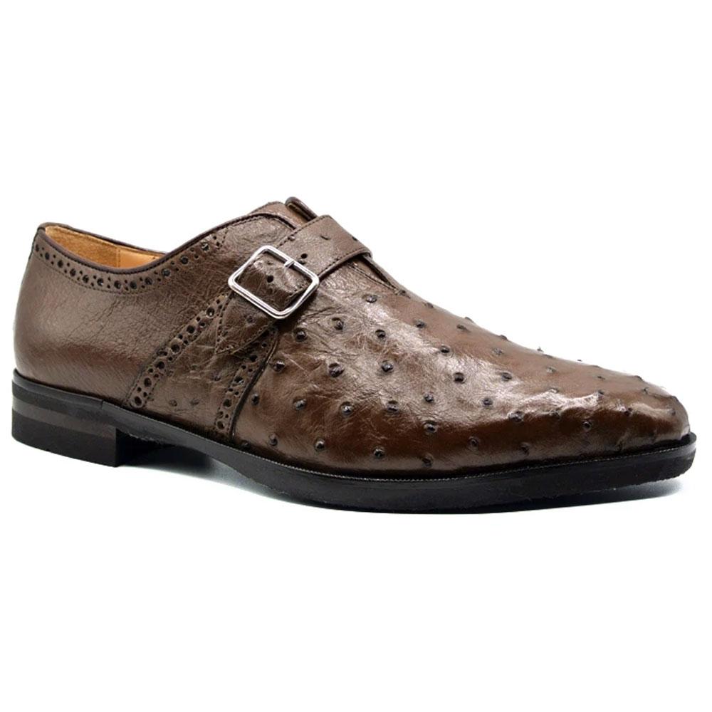 Zelli Antonio Ostrich Monk Strap Shoes Brown Image