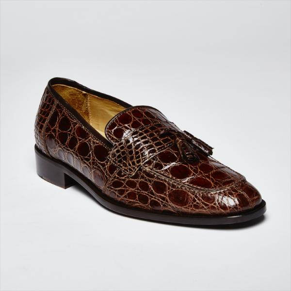 Zelli Aviano Genuine Crocodile Tassel Loafer Brown Image