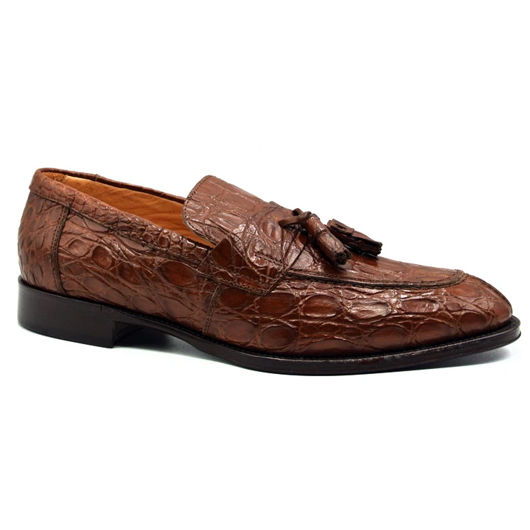 Zelli Como Caiman Crocodile Tassel Loafers Cognac Image