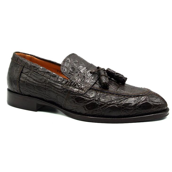 Zelli Como Caiman Crocodile Tassel Loafers Nicotine Image