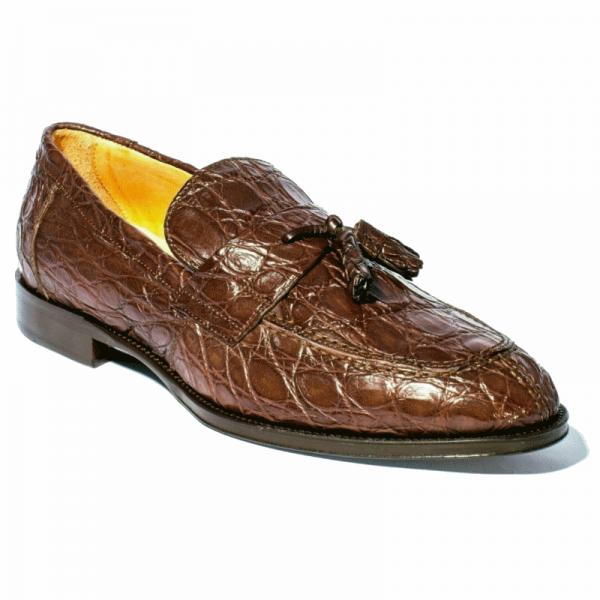 Zelli Como Caiman Crocodile Tassel Loafers Nicotine or Cognac Image