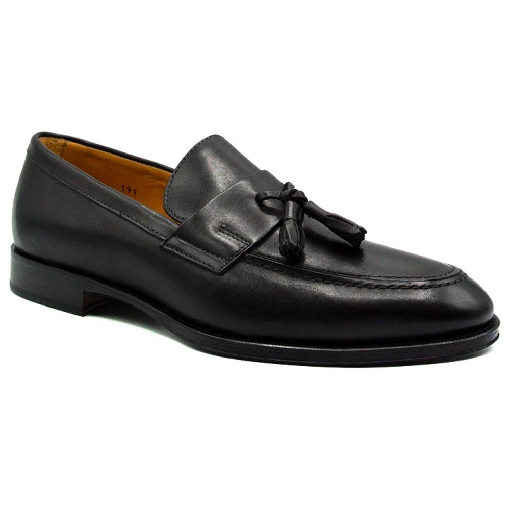 Zelli Como Calfskin Tassel Loafers Black Image