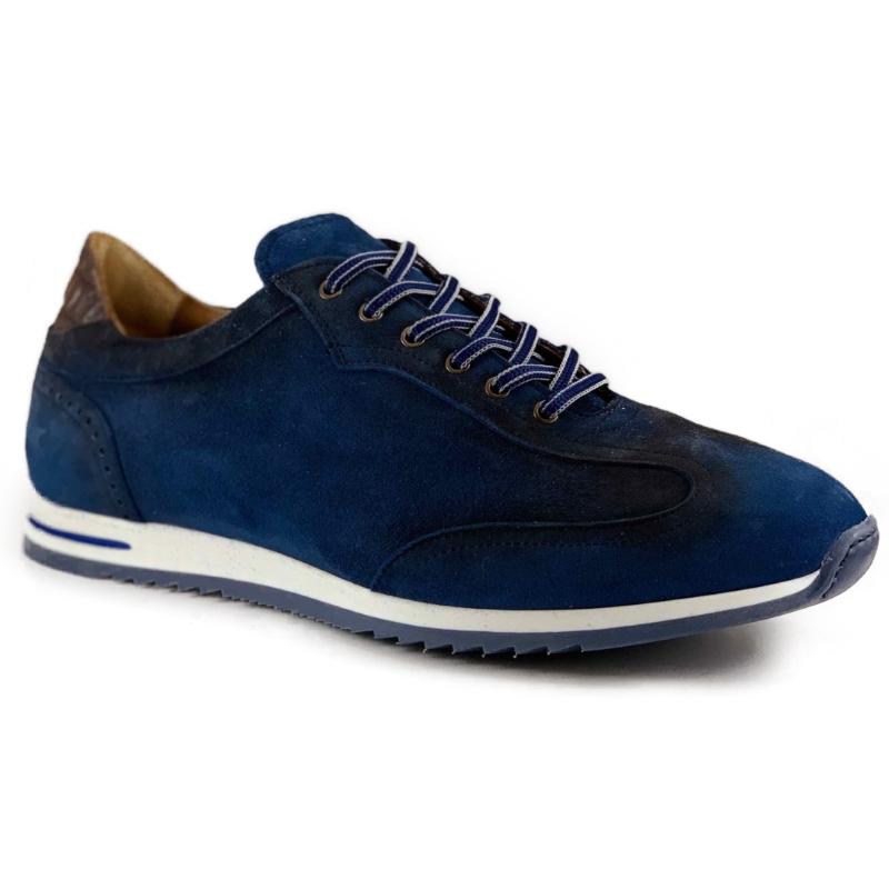 Zelli Costa Suede & Crocodile Sneakers Navy Image