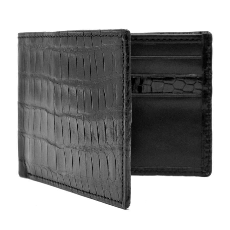 Zelli Caiman Crocodile Bi-Fold Wallet Black Image