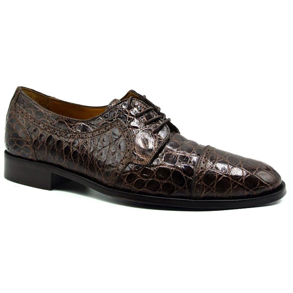 Zelli Da Vinci Cap Toe Crocodile Lace-Up Brown Image