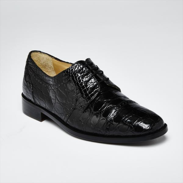Zelli Da Vinci Cap Toe Crocodile Lace-Up Black Image