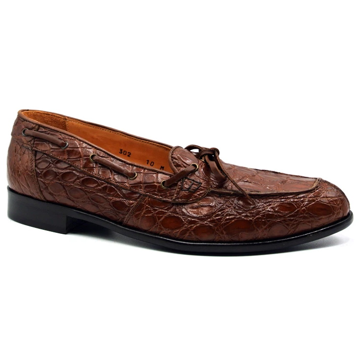 Zelli Doral Crocodile Twist Tie Loafers Cognac Image