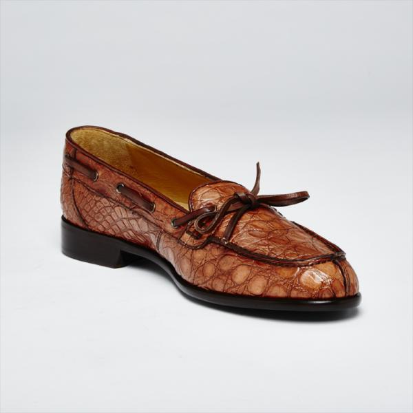 Zelli Doral Crocodile Twist Tie Loafers Antique Copper Image