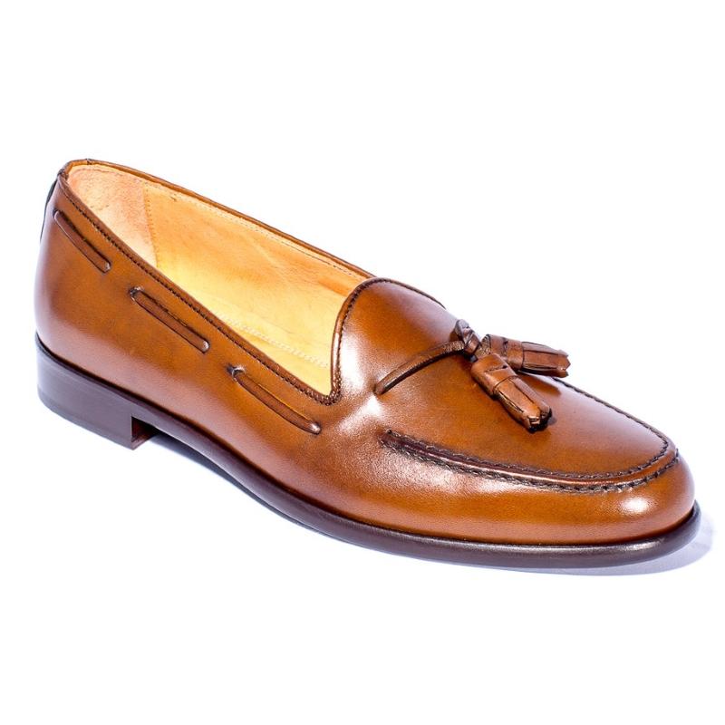Zelli Franco Calfskin Tassel Loafers Caramel Image