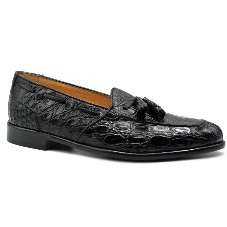 Zelli Franco Crocodile Tassel Loafers Black Image