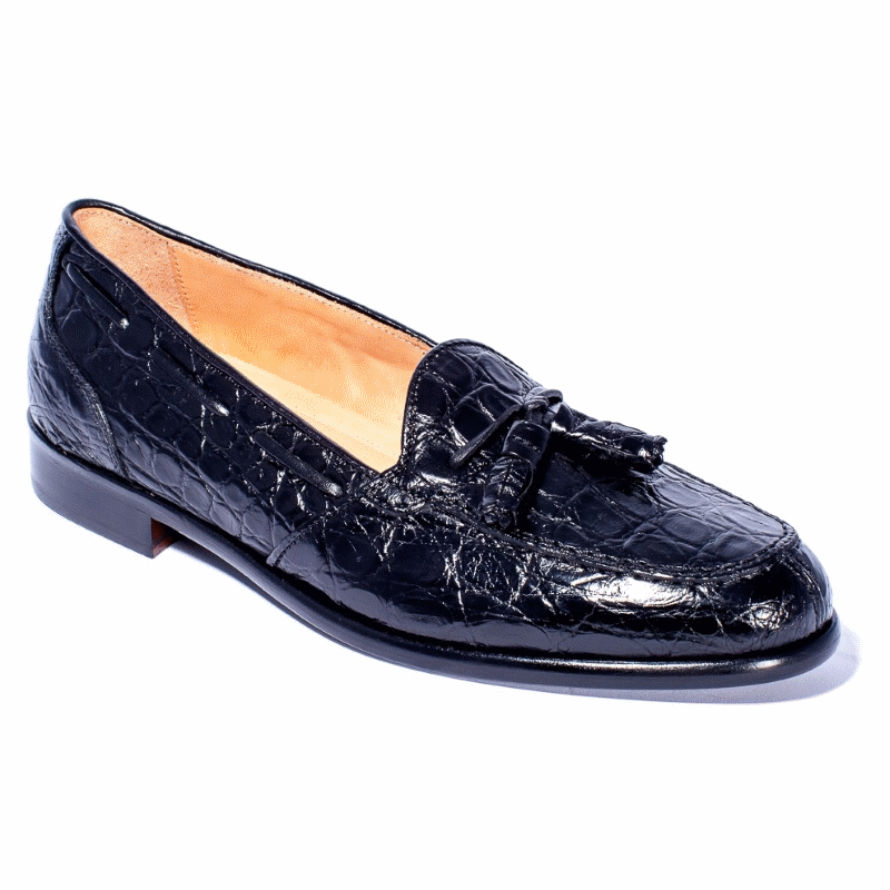 Zelli Franco Crocodile Tassel Loafers Black Image