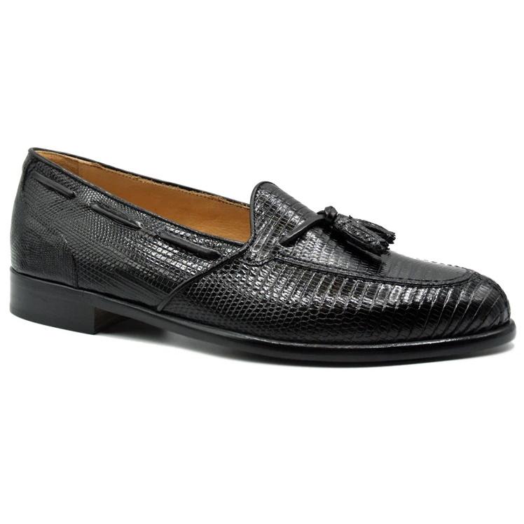 Zelli Franco Lizard Tassel Loafers Black Image