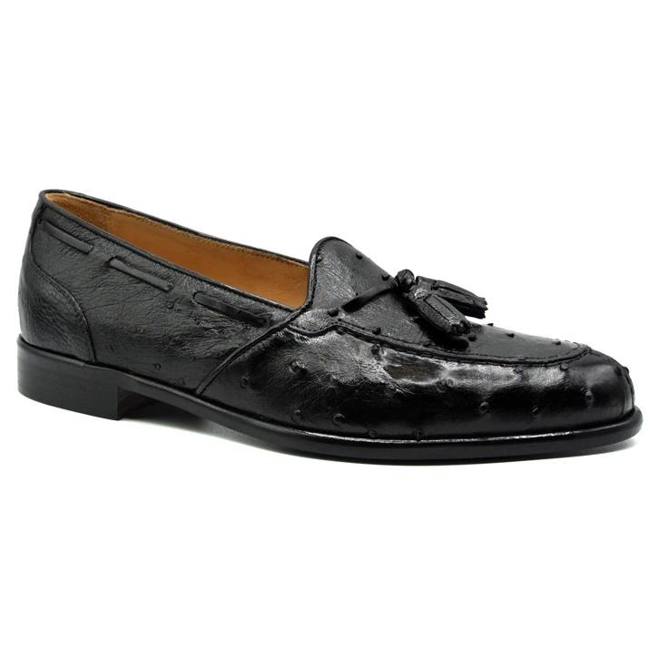 Zelli Franco Ostrich Tassel Loafers Black Image