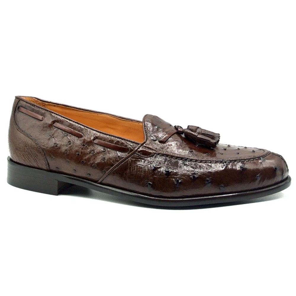 Zelli Franco Ostrich Tassel Loafers Brown Image