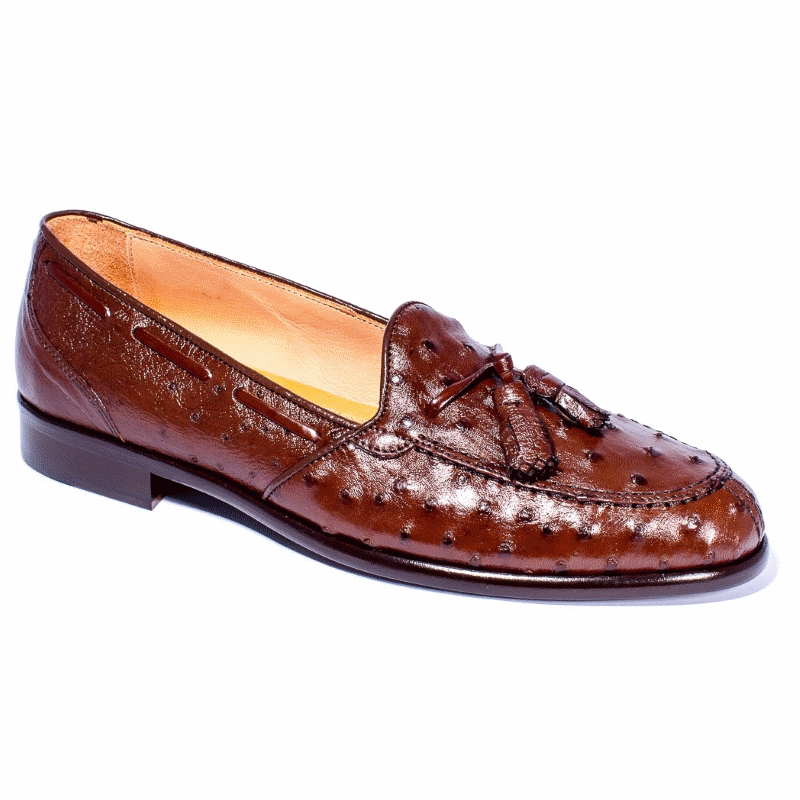 Zelli Franco Ostrich Tassel Loafers Brown Image