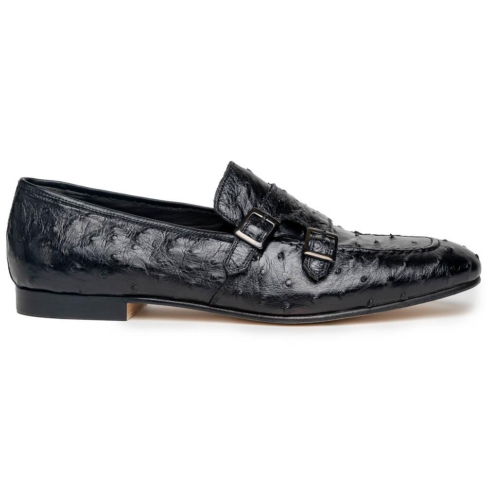 Zelli Gatto Ostrich Double Monk Strap Shoes Black Image