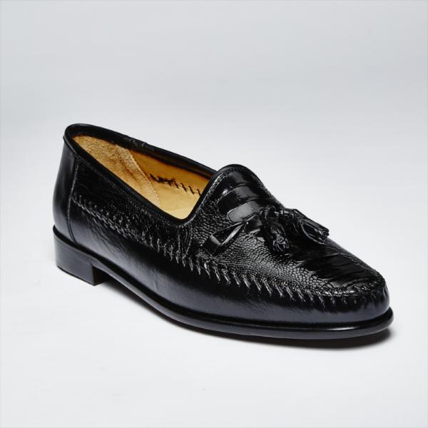 Zelli Kalahari Ostrich Leg / Nappa Tassel Loafers Black Image