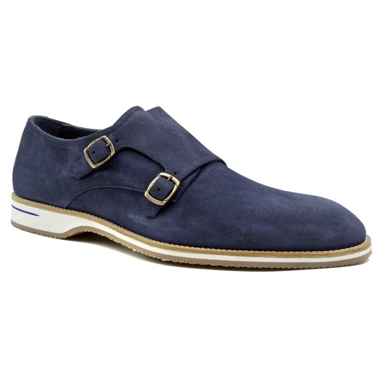 Zelli Legerra Suede Monk Strap Shoes Blue Image