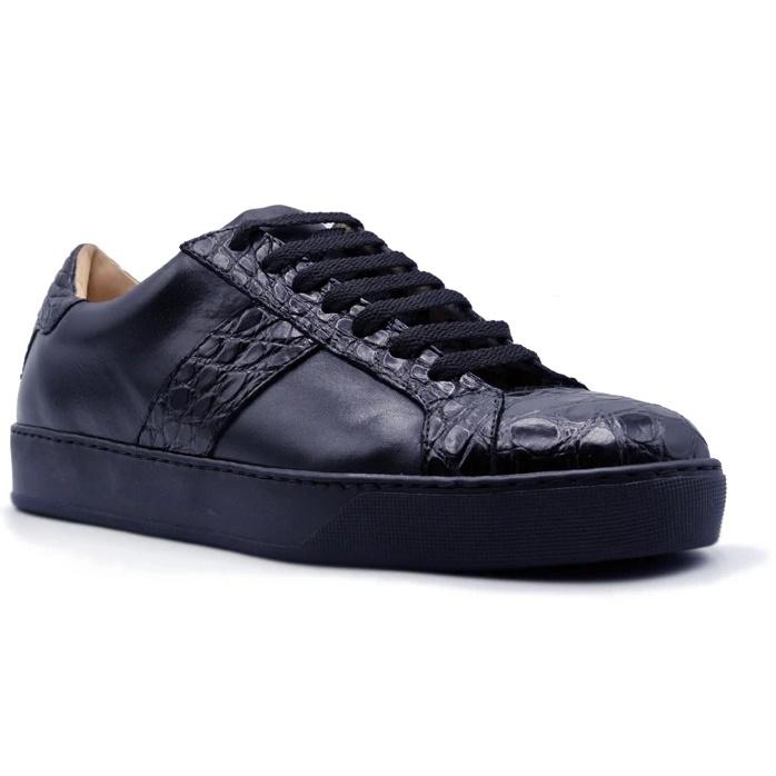 Zelli Luca Crocodile & Calfskin Sneakers Black Image