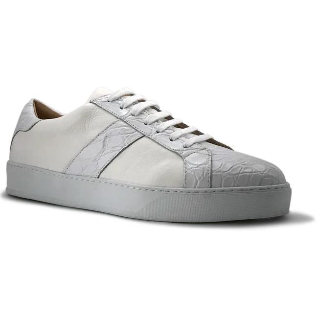 Zelli Luca Crocodile & Calfskin Sneakers White Image