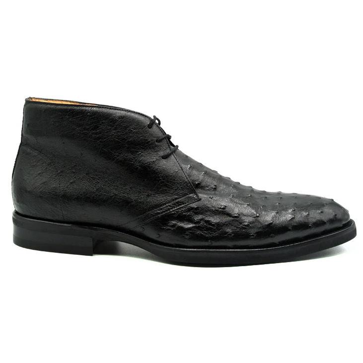 Zelli Marco Ostrich Chukka Boots Black Image