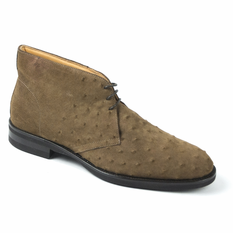 Zelli Marco Sueded Ostrich Chukka Boots Brown Image