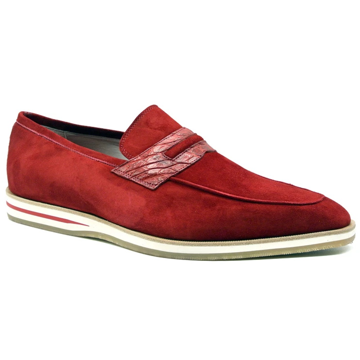 Zelli Meo 3 Suede & Crocodile Loafers Red Image