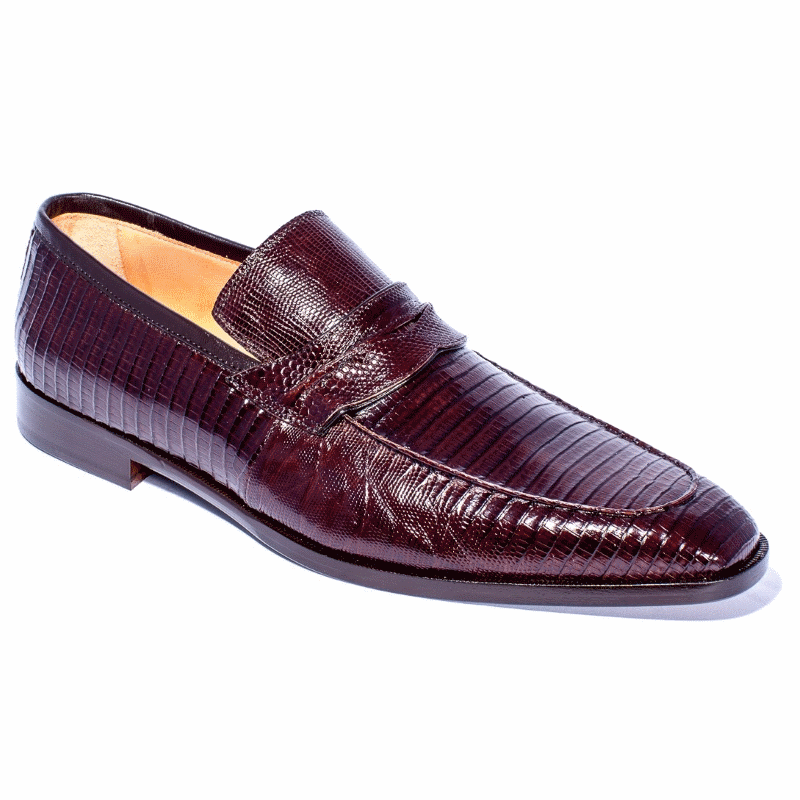 Zelli Meo Lizard Penny Loafers Dark Brown Image