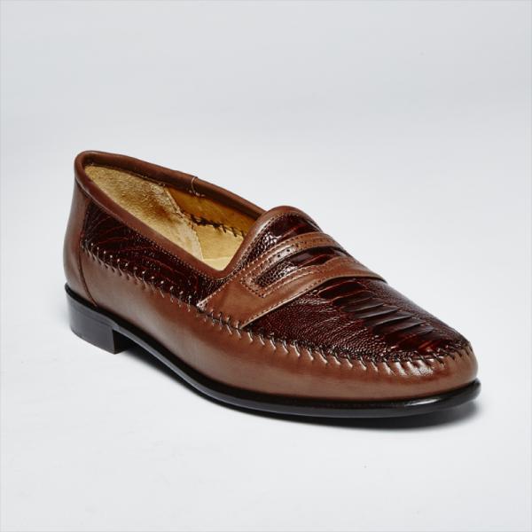 Zelli Milano Ostrich Leg / Nappa Slip-On Brown Image