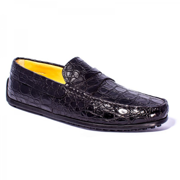 Zelli Monza Caiman Crocodile Driving Loafers Black Image