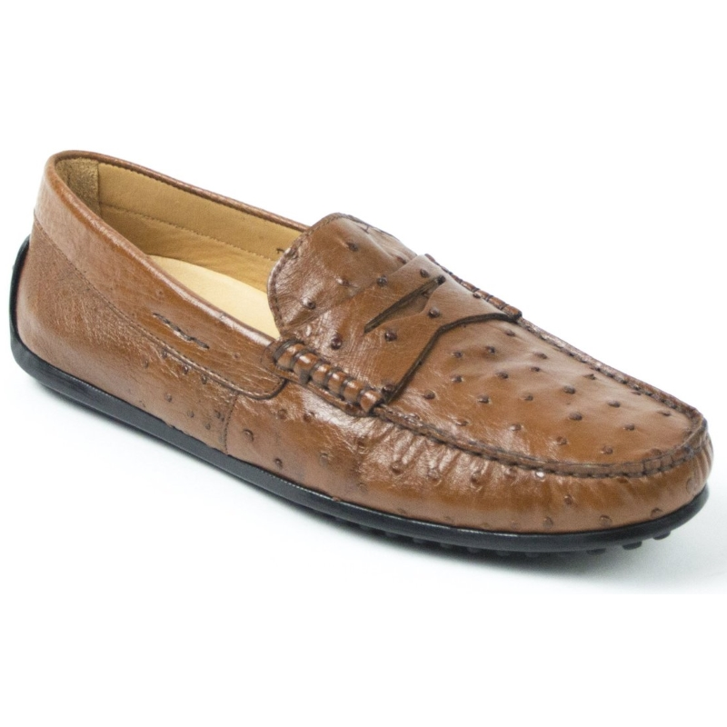 Zelli Monza Ostrich Quill Driving Loafers Brandy Image