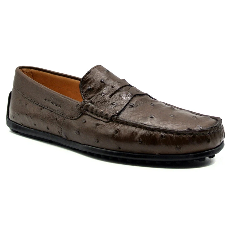 Zelli Monza Ostrich Quill Driving Loafers Brown Image