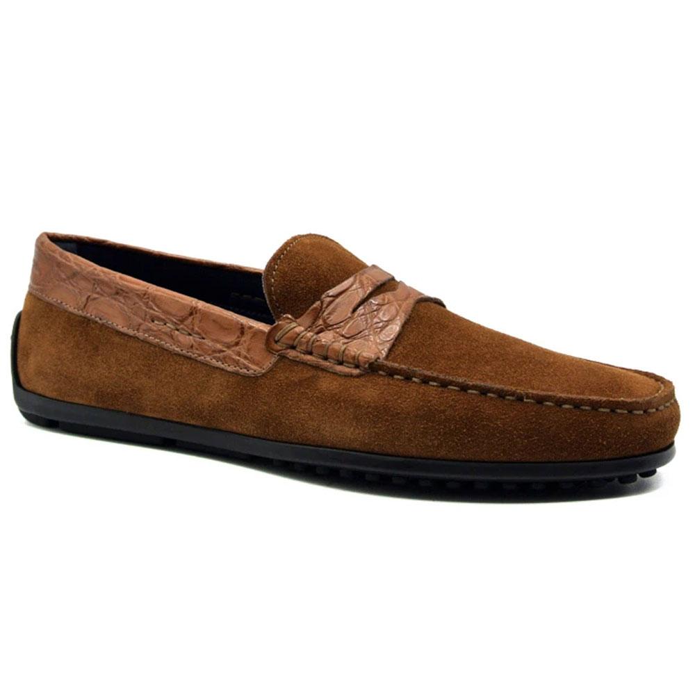Zelli Monza Suede & Crocodile Driving Shoes Cognac Image