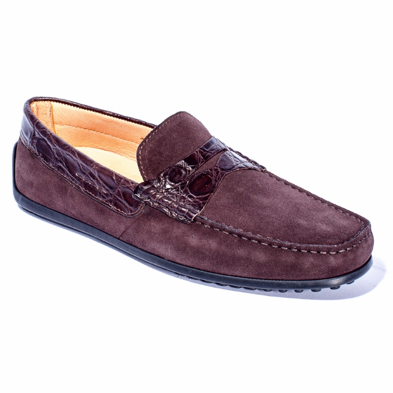 Zelli Monza Suede & Crocodile Driving Loafers Nicotine Image