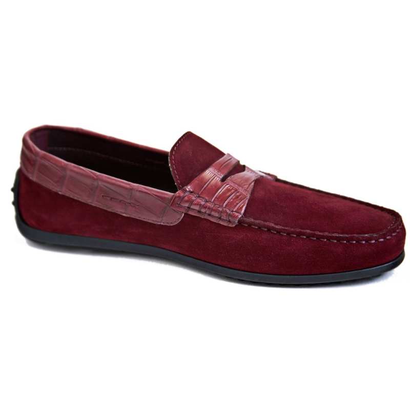 Zelli Monza Suede & Crocodile Driving Shoes Bordeaux Image