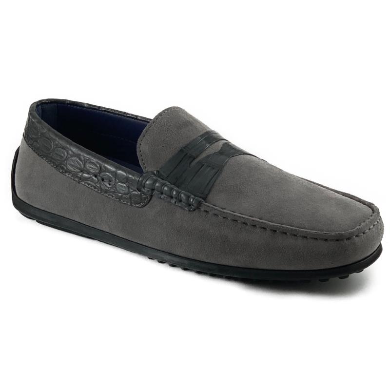 Zelli Monza Suede & Crocodile Driving Shoes Gray Image