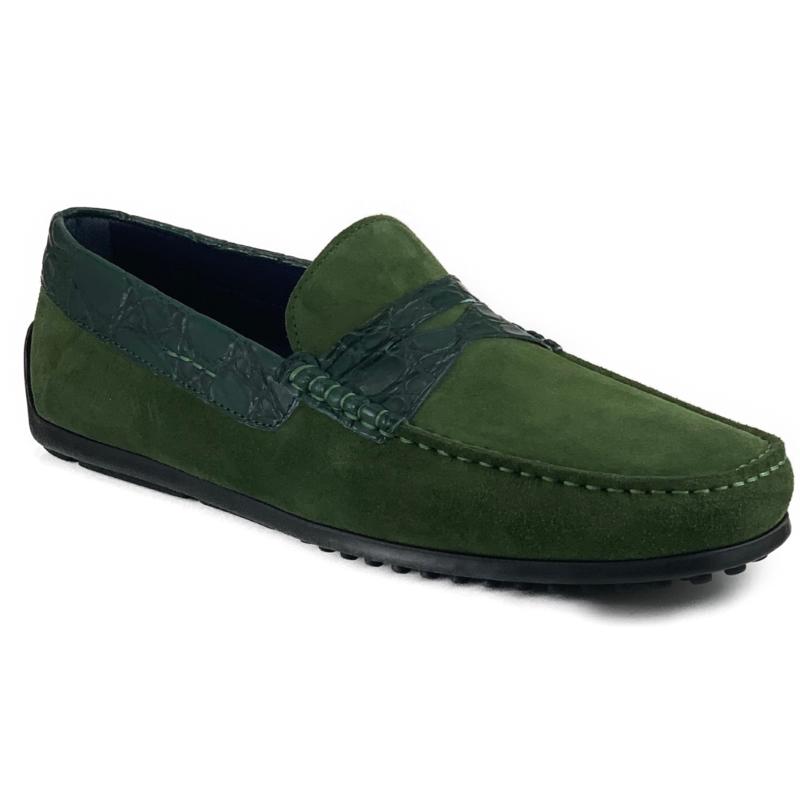 Zelli Monza Suede & Crocodile Driving Shoes Green Image