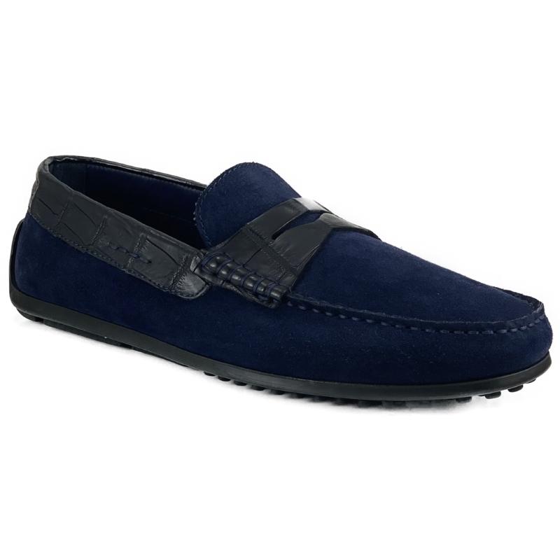 Zelli Monza Suede & Crocodile Driving Shoes Navy Image