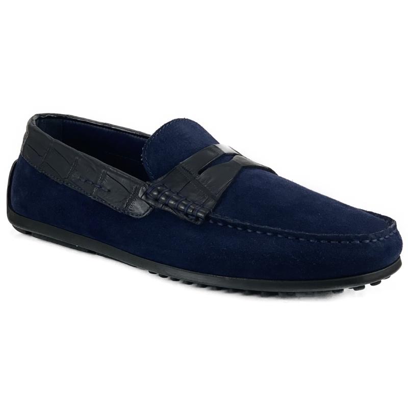Zelli Monza Suede & Crocodile Driving Shoes Navy Image