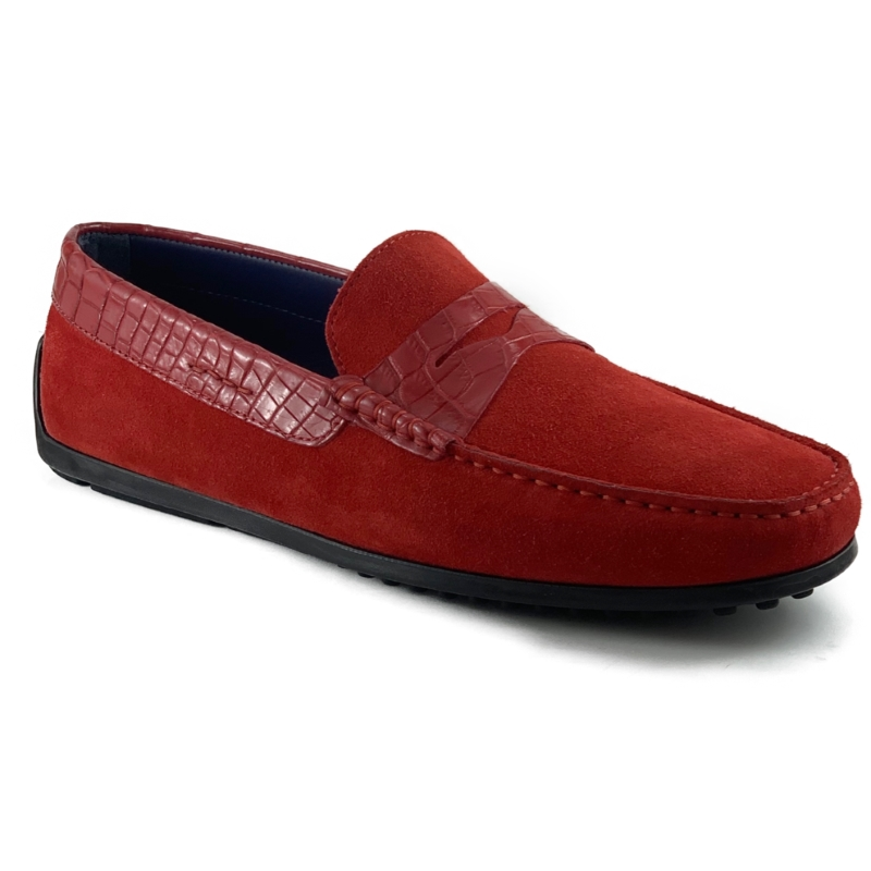 Zelli Monza Suede & Crocodile Driving Shoes Red Image